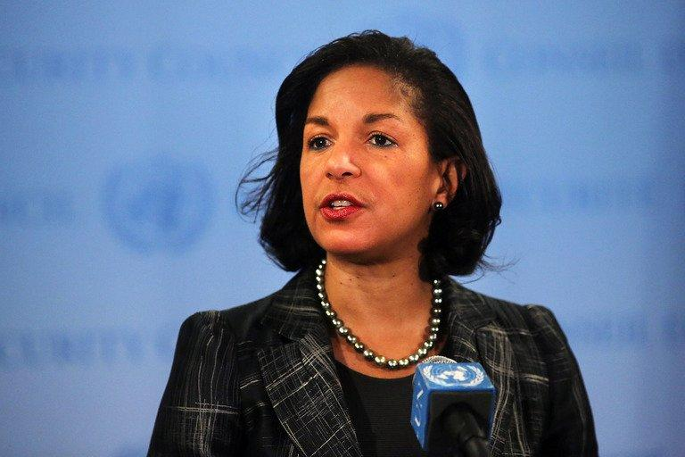"Susan Rice, the US ambassador to the United Nations, speaks to the media on February 12, 2013 in New York City. The United States and China on Tuesday called on the UN Security Council to sanction North Korean diplomats and ""illicit"" cash transfers to step up pressure on Pyongyang's nuclear program"