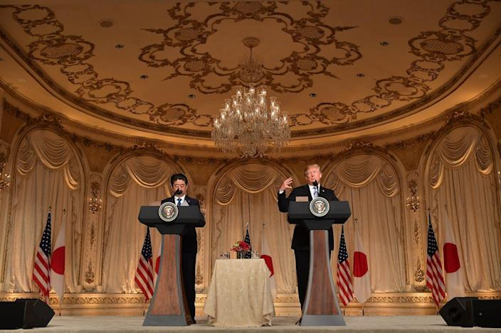 Trump and Japan's Prime Minister Shinzo Abe Mar-a-Lago