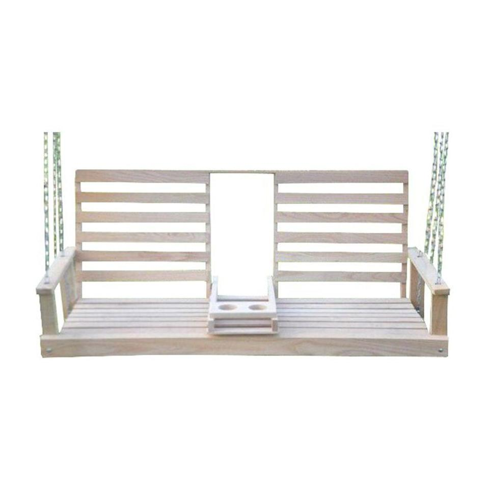 """<p><strong>Breakwater Bay</strong></p><p>wayfair.com</p><p><strong>$135.99</strong></p><p><a href=""""https://go.redirectingat.com?id=74968X1596630&url=https%3A%2F%2Fwww.wayfair.com%2Foutdoor%2Fpdp%2Fbreakwater-bay-ison-porch-swing-w000194079.html&sref=https%3A%2F%2Fwww.countryliving.com%2Fhome-design%2Fdecorating-ideas%2Fg32815195%2Fbest-porch-swings%2F"""" rel=""""nofollow noopener"""" target=""""_blank"""" data-ylk=""""slk:Shop Now"""" class=""""link rapid-noclick-resp"""">Shop Now</a></p><p>Just imagine yourself basking in the summer sun while <a href=""""https://www.countryliving.com/food-drinks/g3475/easy-sangria-recipes/"""" rel=""""nofollow noopener"""" target=""""_blank"""" data-ylk=""""slk:sipping a boozy sangria"""" class=""""link rapid-noclick-resp"""">sipping a boozy sangria</a> in this solid oak porch swing. A foldable center console unfurls to reveal two sturdy cup holders, so you can comfortably settle down without worrying about potential spillage.</p>"""
