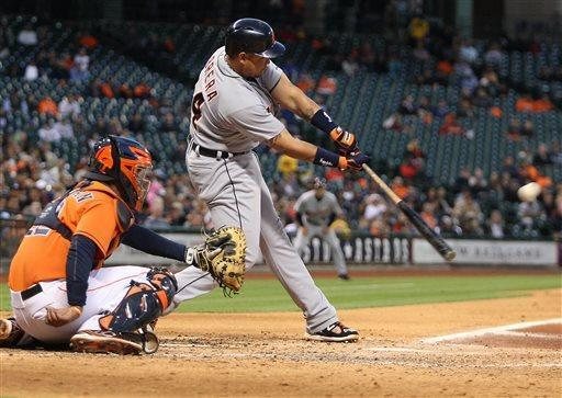 Detroit Tigers Miguel Cabrera hits a double during the fourth inning of a baseball game against the Houston Astros Friday, May 3, 2013, in Houston. (AP Photo/Patric Schneider)