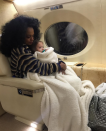 """<p>The actor — and Ashlee Simpson's husband — shared this sweet pic of his mother, singer Diana Ross, snuggling his daughter, Jagger Snow, 2, aboard a private plane. """"This photo is everything to me!"""" he wrote. """"So much love. My mom loving on my baby girl! Everything!"""" (Photo: <a href=""""https://www.instagram.com/p/Bamx9I7HqK1/?taken-by=realevanross"""" rel=""""nofollow noopener"""" target=""""_blank"""" data-ylk=""""slk:Evan Ross via Instagram"""" class=""""link rapid-noclick-resp"""">Evan Ross via Instagram</a>) </p>"""