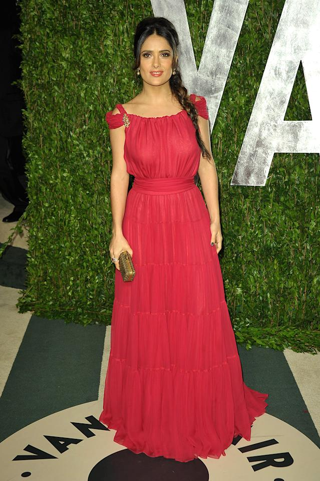 Salma Hayek's YSL dress was nothing to write home about. Her braid, however, was quite cute.