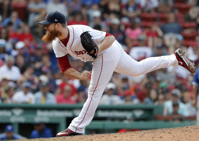 Boston Red Sox's Craig Kimbrel pitches during the 10th inning of their 6-2 over the Toronto Blue Jays in a baseball game Saturday, July 14, 2018, in Boston. (AP Photo/Winslow Townson)