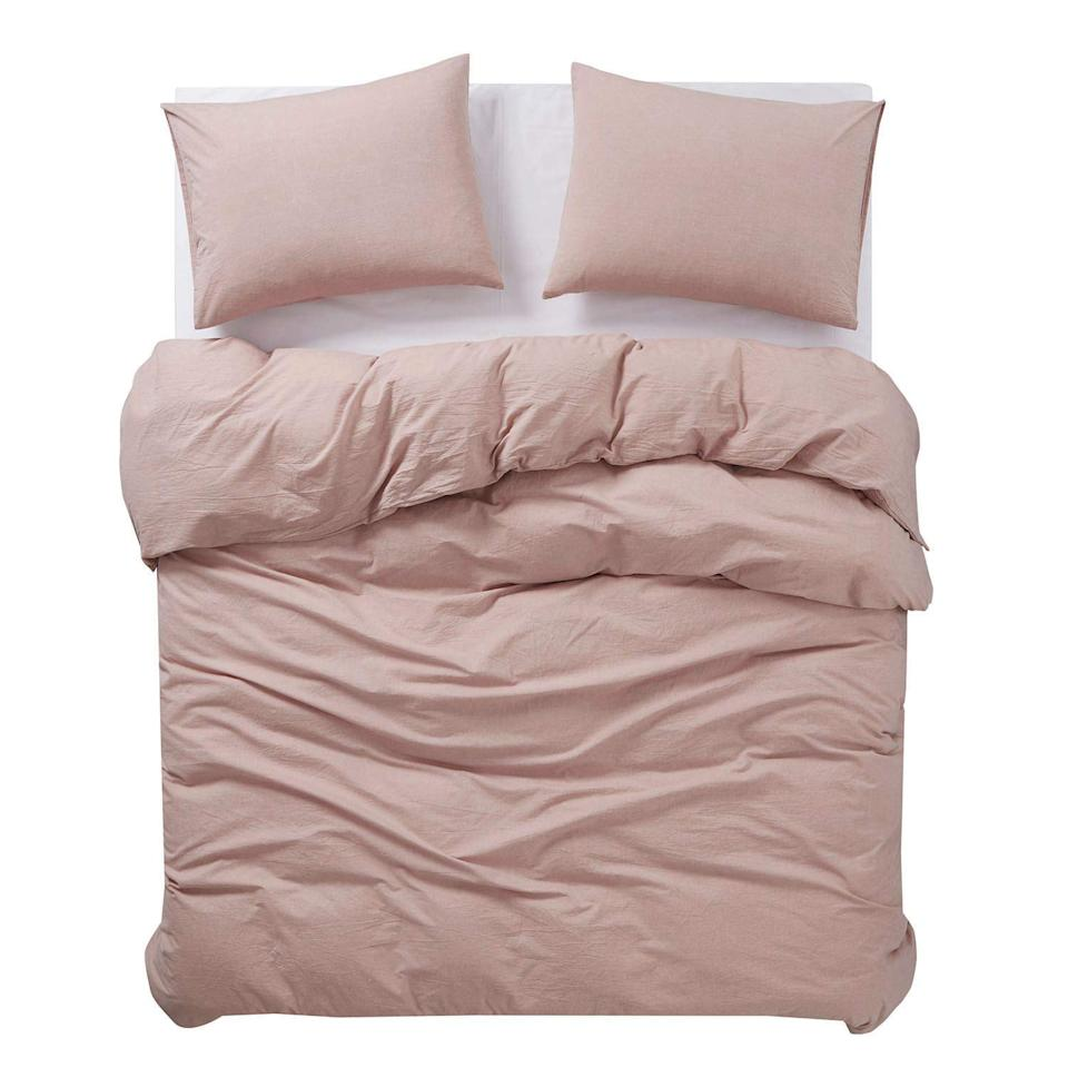 """<p>As its name implies, this bedding set feels like you're waking up in a cloud thanks to its super soft organic cotton fabric. Get yourself this set in one of eight pretty colors offered to make your bed even cozier.</p> <p><strong>To buy:</strong> $50 (was $90); <a href=""""https://www.amazon.com/Wake-Cloud-Washed-Bedding-Closure/dp/B07FN7LNSW/ref=as_li_ss_tl?ie=UTF8&linkCode=ll1&tag=rshomebeddingmemorialdaysalejmattern0519-20&linkId=55d40e09686ca4cf373f29986f1178b1&language=en_US"""" target=""""_blank"""">amazon.com</a>.</p>"""