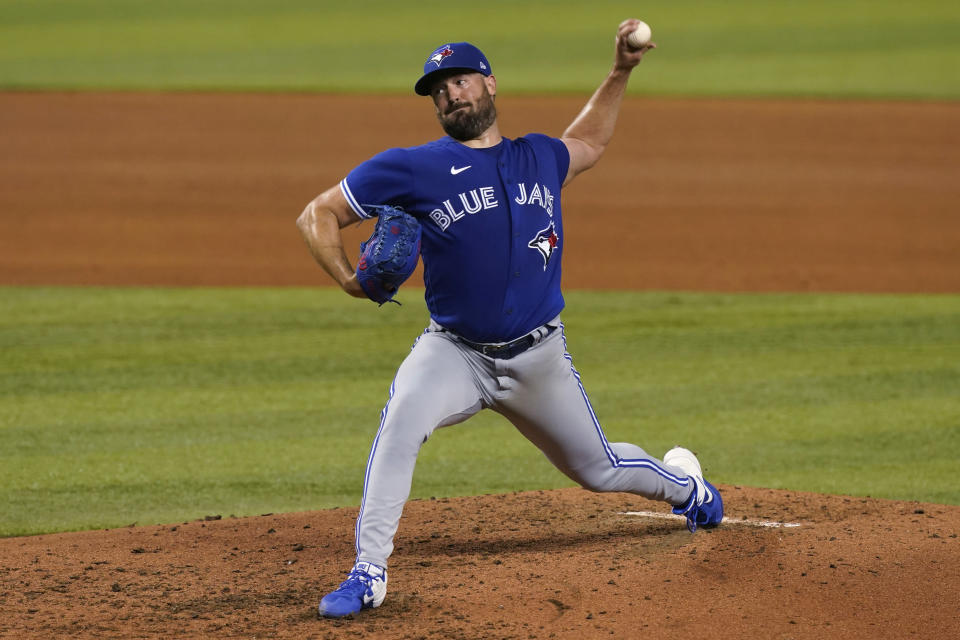 Toronto Blue Jays starting pitcher Robbie Ray aims a pitch during the fourth inning of a baseball game against the Miami Marlins, Wednesday, June 23, 2021, in Miami. (AP Photo/Marta Lavandier)