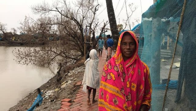 Shanu Ara now lives in her fishing boats, after the ocean swallowed her home in the cyclone