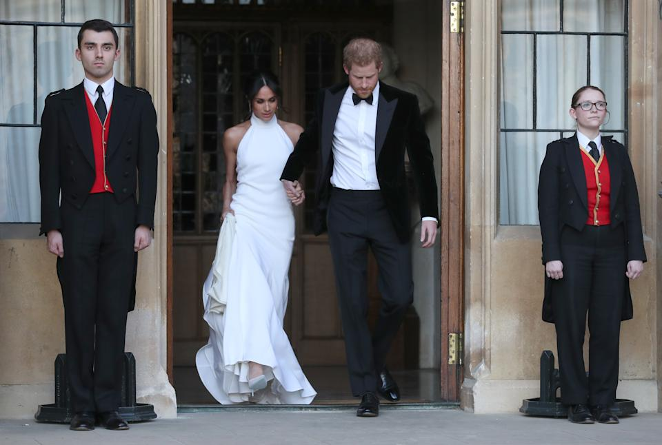 <p>Meghan and Harry had an evening reception at Frogmore House, hosted by the Prince of Wales. (Steve Parsons - WPA Pool/Getty Images)</p>