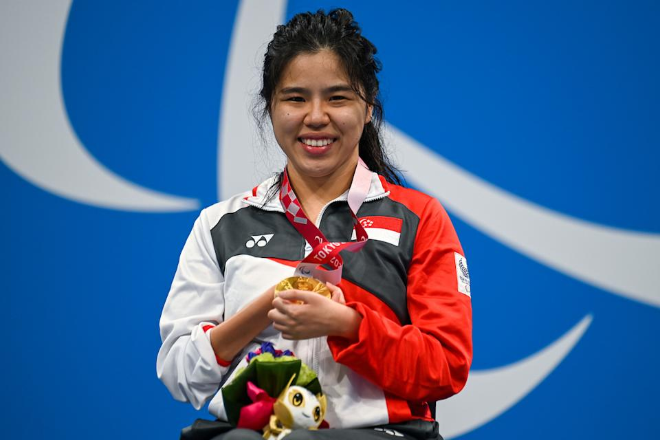 Singapore swimmer Yip Pin Xiu with her gold medal in the women's 50m backstroke (S2) event at the 2020 Tokyo Paralympics. (PHOTO: Sport Singapore)