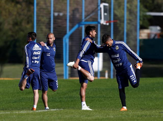 Football Soccer - Argentina's national soccer team training - World Cup 2018 - Buenos Aires, Argentina - May 16, 2018 - Argentina's player Nicolas Tagliafico, Javier Mascherano, Eduardo Salvio and Manuel Lanzini attend a training session. REUTERS/Martin Acosta