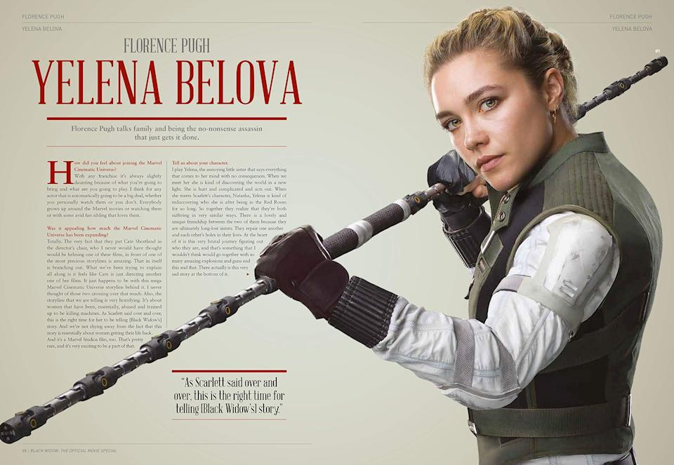 Florence Pugh interviewed in 'Marvel Studios' Black Widow: The Official Movie Special Book'. (Credit: Marvel/Titan Comics)