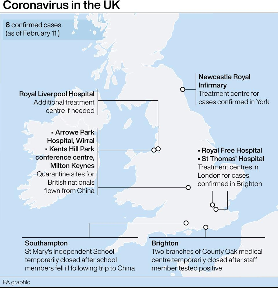 Confirmed coronavirus cases in the UK. (PA Graphics)
