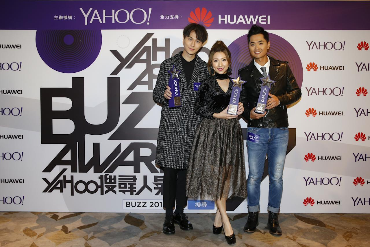 <p>Vincent Wong, Kayee Tam and Fred Cheng win awards for Top Buzz TV Drama Theme Song at the Yahoo Asia Buzz Awards 2017 in Hong Kong on Wednesday (6 December).</p>