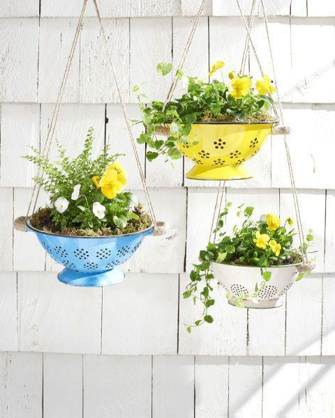 """<p><a class=""""link rapid-noclick-resp"""" href=""""https://www.amazon.com/Now-Designs-Colander-3-Quart-Turquoise/dp/B00IRU6TXW?tag=syn-yahoo-20&ascsubtag=%5Bartid%7C10055.g.495%5Bsrc%7Cyahoo-us"""" rel=""""nofollow noopener"""" target=""""_blank"""" data-ylk=""""slk:SHOP COLANDERS"""">SHOP COLANDERS</a></p><p>Hang spring flowers in brightly colored colanders for an unexpected porch update.</p><p><em><a href=""""http://www.countryliving.com/diy-crafts/how-to/g734/easy-spring-crafts-0309/?slide=3"""" rel=""""nofollow noopener"""" target=""""_blank"""" data-ylk=""""slk:Get the tutorial at Country Living »"""" class=""""link rapid-noclick-resp"""">Get the tutorial at Country Living »</a></em></p>"""
