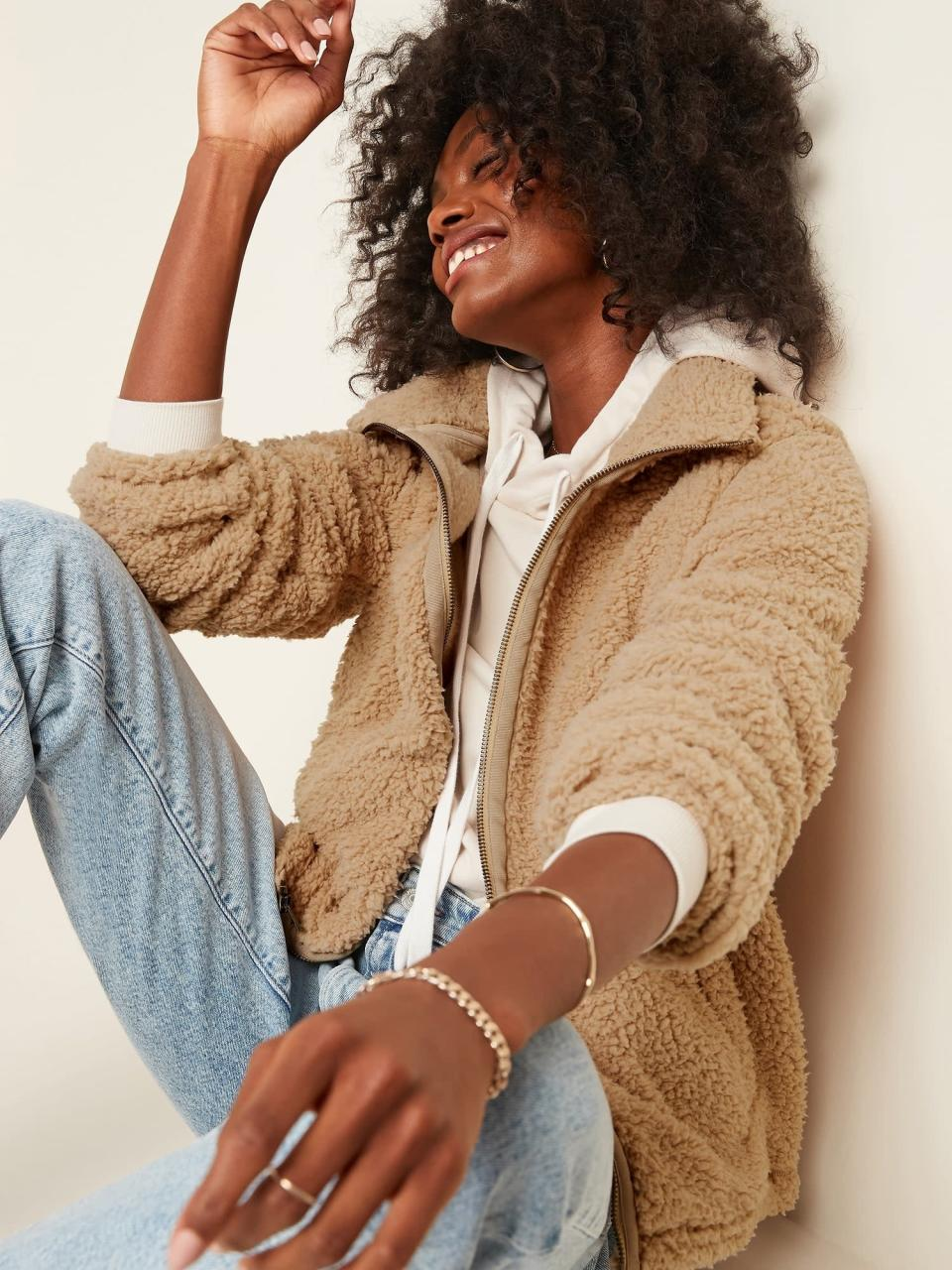 <p>This <span>Cozy Sherpa Zip-Front Jacket </span> ($25, originally $40) is that warm piece you'll grab every time you leave the house. </p>