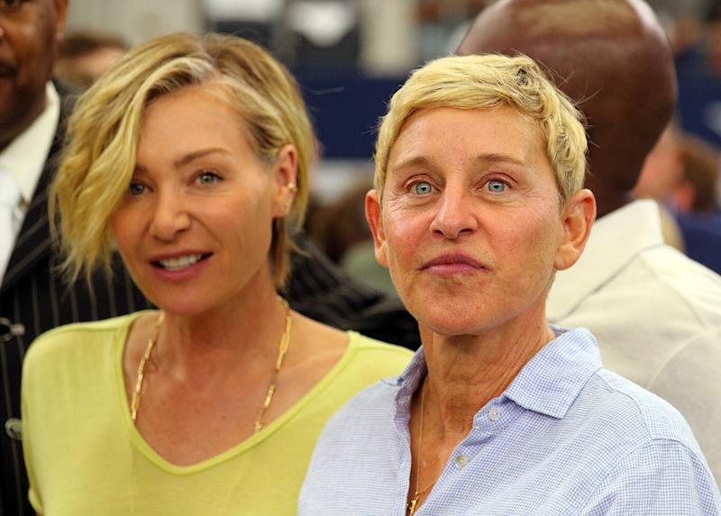 ARLINGTON, TEXAS - OCTOBER 06: Portia de Rossi and Ellen DeGeneres watch the Green Bay Packers and Dallas Cowboys warm up before the game at AT&T Stadium on October 06, 2019 in Arlington, Texas. (Photo by Richard Rodriguez/Getty Images)