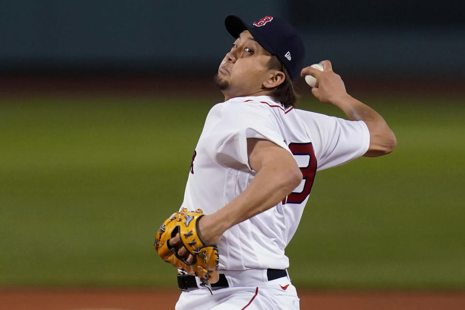 Boston Red Sox relief pitcher Hirokazu Sawamura delivers in the sixth inning of the team's baseball game against the Toronto Blue Jays at Fenway Park, Wednesday, April 21, 2021, in Boston. (AP Photo/Charles Krupa)