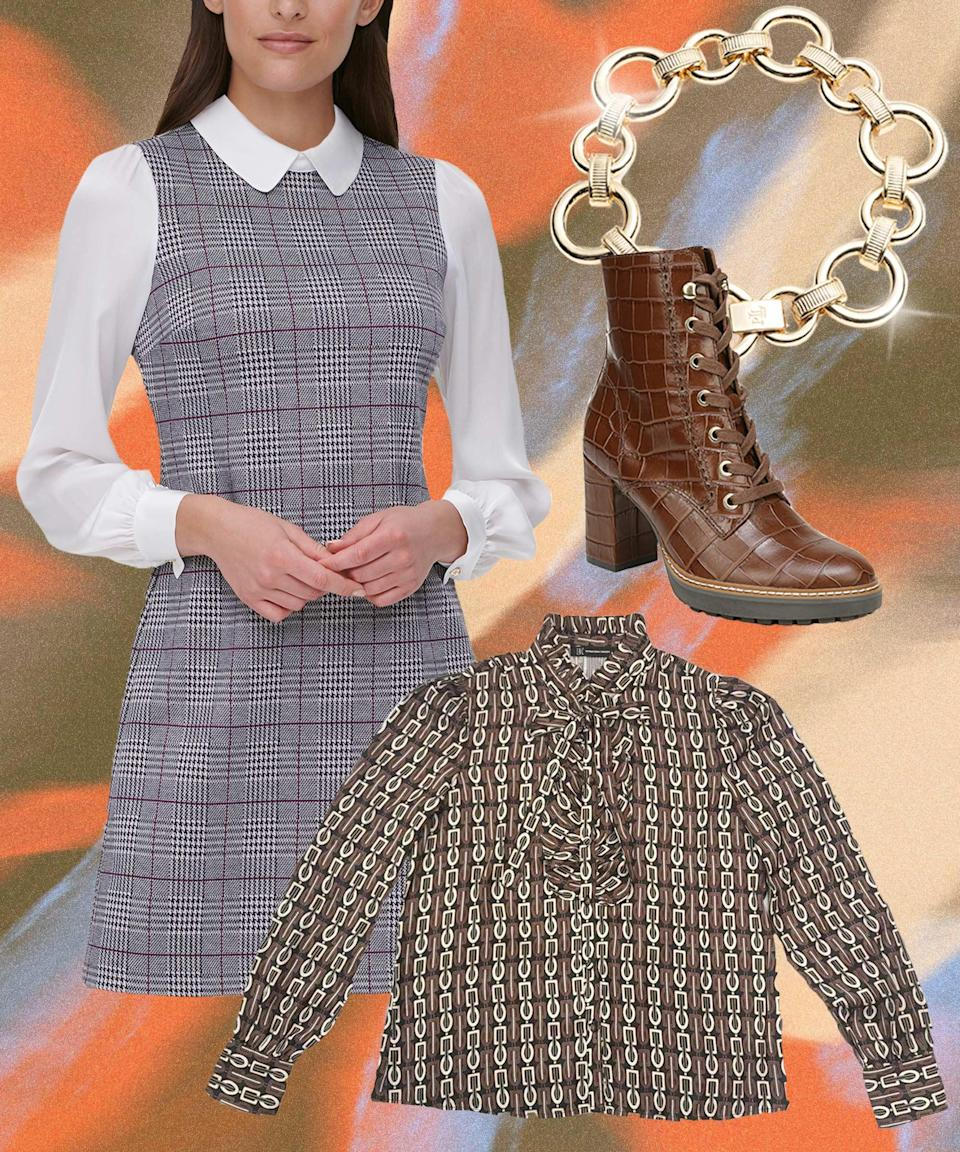 """Marry mod academia and '70s power dressing by layering a glen check tunic over a printed blouse — but stop short of the prerequisite loafer or pump. A croc-embossed lug-sole boot makes for a less predictable footwear choice that's also practical for winter, while a chain bracelet lifts an otherwise neutral look.<br><br><strong>Tommy Hilfiger</strong> Plaid A-line Dress, $, available at <a href=""""https://go.skimresources.com/?id=30283X879131&url=https%3A%2F%2Fwww.macys.com%2Fshop%2Fproduct%2Ftommy-hilfiger-plaid-a-line-dress%3FID%3D11328785%26CategoryID%3D5449"""" rel=""""nofollow noopener"""" target=""""_blank"""" data-ylk=""""slk:Macy's"""" class=""""link rapid-noclick-resp"""">Macy's</a><br><br><strong>INC International Concepts</strong> Jolie Printed Ruffled Blouse, $, available at <a href=""""https://go.skimresources.com/?id=30283X879131&url=https%3A%2F%2Fwww.macys.com%2Fshop%2Fproduct%2Finc-jolie-printed-ruffled-blouse-created-for-macys%3FID%3D11248800%26CategoryID%3D255"""" rel=""""nofollow noopener"""" target=""""_blank"""" data-ylk=""""slk:Macy's"""" class=""""link rapid-noclick-resp"""">Macy's</a><br><br><strong>Naturalizer</strong> Callie Mid Shaft Lug Sole Boots, $, available at <a href=""""https://go.skimresources.com/?id=30283X879131&url=https%3A%2F%2Fwww.macys.com%2Fshop%2Fproduct%2Fnaturalizer-callie-mid-shaft-boots%3FID%3D6877434%26CategoryID%3D56233%26cm_kws%3D6877434"""" rel=""""nofollow noopener"""" target=""""_blank"""" data-ylk=""""slk:Macy's"""" class=""""link rapid-noclick-resp"""">Macy's</a><br><br><strong>Lauren Ralph Lauren</strong> Gold-Tone Textured Link Flex Bracelet, $, available at <a href=""""https://go.skimresources.com/?id=30283X879131&url=https%3A%2F%2Fwww.macys.com%2Fshop%2Fproduct%2Flauren-ralph-lauren-gold-tone-textured-link-flex-bracelet%3FID%3D10986739%26CategoryID%3D78232"""" rel=""""nofollow noopener"""" target=""""_blank"""" data-ylk=""""slk:Macy's"""" class=""""link rapid-noclick-resp"""">Macy's</a>"""