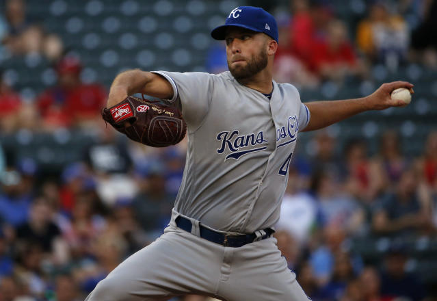 Kansas City Royals starting pitcher Danny Duffy delivers against the Texas Rangers during the first inning of a baseball game Thursday, May 24, 2018, in Arlington, Texas. (AP Photo/Ron Jenkins)