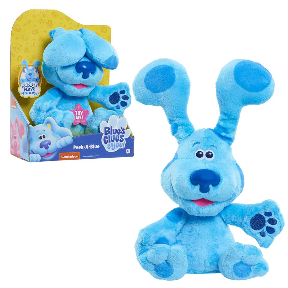 """<p><strong>Blue's Clues & You</strong></p><p>walmart.com</p><p><strong>$24.84</strong></p><p><a href=""""https://go.redirectingat.com?id=74968X1596630&url=https%3A%2F%2Fwww.walmart.com%2Fip%2F357609054&sref=https%3A%2F%2Fwww.bestproducts.com%2Fparenting%2Fg34074265%2Fwalmart-top-toys-of-2020%2F"""" target=""""_blank"""">Shop Now</a></p><p><em>Blue's Clues</em> has been a childhood favorite for decades, and this classic little pup is back to fetch the hearts of your sweeties. This blue doggy will play endless rounds of peek-a-boo with your tot when his belly his pressed, giving you a much needed break. </p>"""