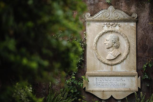 ROME, ITALY - MARCH 26: A memorial stone to poet John Keats, (1795-1821) in Rome's 'Non Catholic Cemetery' on March 26, 2013 in Rome, Italy. John Keats, one of England's most famous poets died early in 1820 of tuberculosis aged 25, after travelling to Italy in search of a better climate to help cure him of the disease. Rome's Non-Catholic Cemetery contains one of the highest densities of famous and important graves anywhere in the world. It is the final resting-place of the poets Percy Shelley and John Keats, as well as many other painters, sculptors and authors who died in Rome. The cemetery which began it's use in 1730 continues today, containing graves of Orthodox Christians, Jews, Muslims and other non-Christians, and is one of the oldest burial grounds in Europe. (Photo by Dan Kitwood/Getty Images)