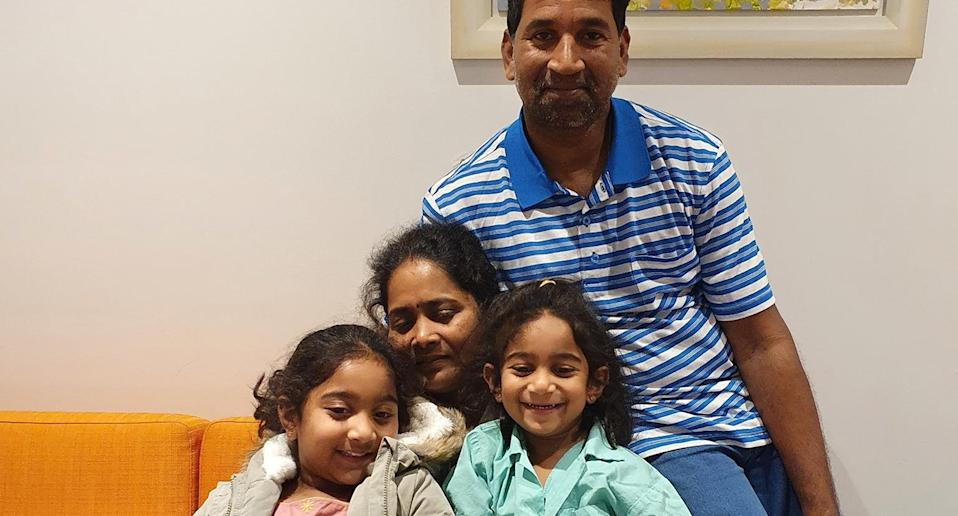 A supplied image obtained on Sunday, June 20, 2021, shows Nades, Priya and their Australian-born girls Kopika and Tharnicaa. A Tamil asylum-seeker family that has been detained on Christmas Island for the past two years has be reunited on the Australian mainland. (AAP Image/Supplied by @HomeToBilo) NO ARCHIVING, EDITORIAL USE ONLY