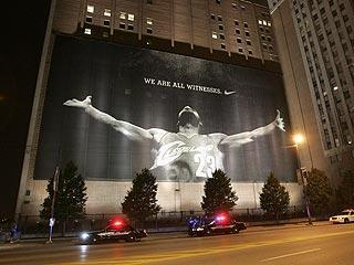 """The LeBron James mural was a target of scorn last summer after """"The Decision"""" rocked Cleveland"""