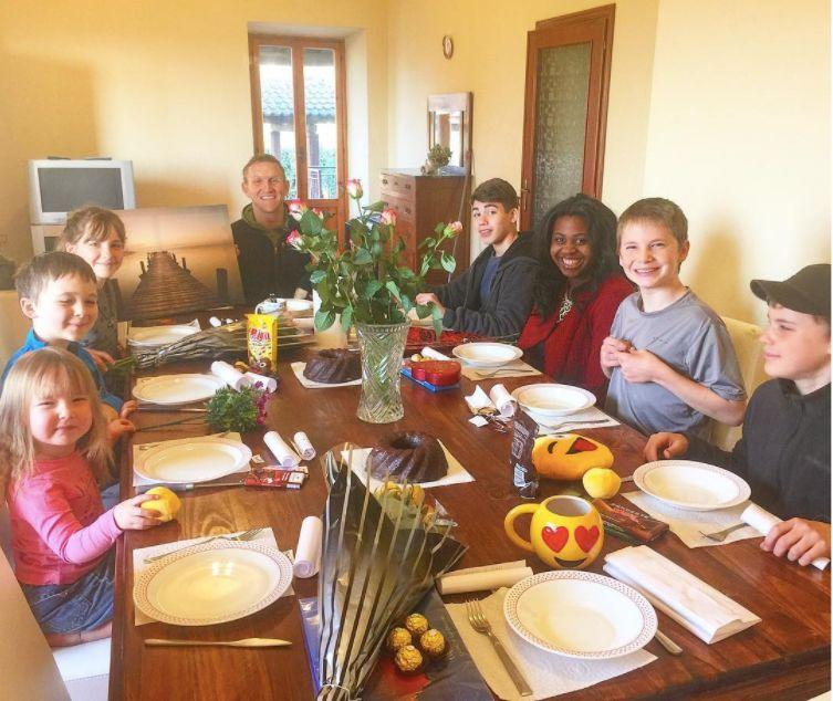 Dining at home in Artena, Italy