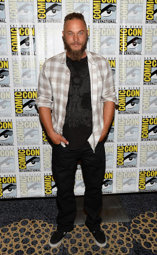 "Travis Fimmel attends the ""Vikings"" Media Room during San Diego Comic Con 2013 at Hilton Bayfront on July 19, 2013 in San Diego, California."