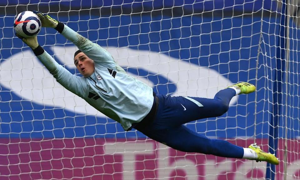 The Chelsea goalkeeper Kepa Arrizabalaga during the warmup on Saturday for the game with West Brom, which Chelsea lost 5-2.