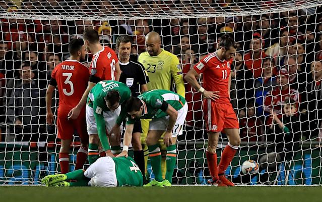 <span>Gareth Bale escaped a red card for his tackle on John O'Shea</span> <span>Credit: REX FEATURES </span>