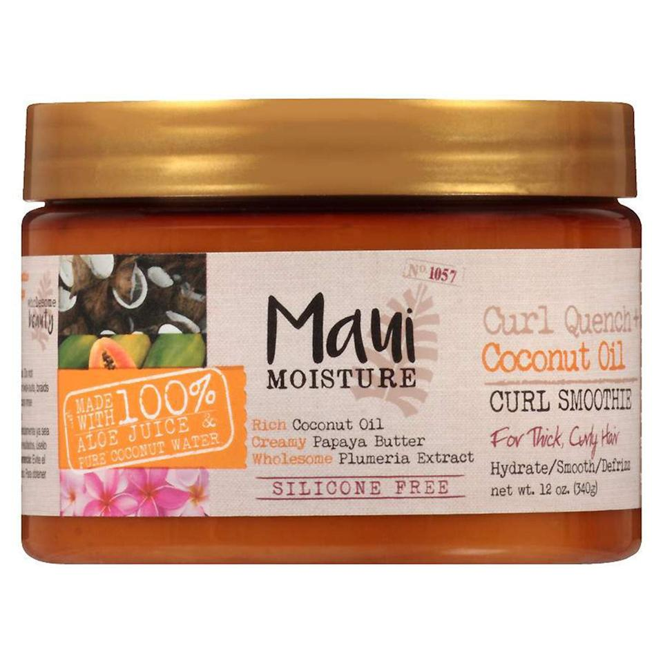 """<p>If you've got the kind of curls that need some extra hold, Maui Moisture's Curl Quench Coconut Oil Curl Smoothie is right up your alley. The silicone-free, <a href=""""https://www.allure.com/gallery/best-of-beauty-hair-product-winners?mbid=synd_yahoo_rss"""" rel=""""nofollow noopener"""" target=""""_blank"""" data-ylk=""""slk:2018 Best of Beauty Award-winning"""" class=""""link rapid-noclick-resp"""">2018 Best of Beauty Award-winning</a> formula moisturizes dry curls, clumping them together and banishing frizz to give you some serious definition. Rake through your strands, air-dry or blow-dry, and get ready for the softest coils ever.</p> <p><strong>$7</strong> (<a href=""""https://www.amazon.com/Maui-Moisture-Quench-Coconut-Smoothie/dp/B01MFHHD33"""" rel=""""nofollow noopener"""" target=""""_blank"""" data-ylk=""""slk:Shop Now"""" class=""""link rapid-noclick-resp"""">Shop Now</a>)</p>"""
