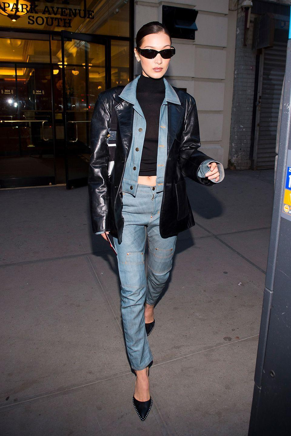 """<p>Take note from model of the moment Bella Hadid and layer a leather jacket over your denim for that '90s <em>Matrix</em> look on a chilly night. </p><p><em>Helmut Lang leather jacket, $2,029, <a href=""""https://www.farfetch.com/shopping/women/helmut-lang-relaxed-fit-leather-blazer-jacket-item-13497432.aspx?storeid=9359"""" rel=""""nofollow noopener"""" target=""""_blank"""" data-ylk=""""slk:farfetch.com"""" class=""""link rapid-noclick-resp"""">farfetch.com</a>.</em></p><p><a class=""""link rapid-noclick-resp"""" href=""""https://www.farfetch.com/shopping/women/helmut-lang-relaxed-fit-leather-blazer-jacket-item-13497432.aspx?storeid=9359"""" rel=""""nofollow noopener"""" target=""""_blank"""" data-ylk=""""slk:SHOP"""">SHOP</a><br></p><p><em>GRLFRND denim jacket, $258, <a href=""""http://www.revolve.com/grlfrnd-cara-cropped-denim-jacket/dp/GRLR-WO3/?product=GRLR-WO3&fbreq=el"""" rel=""""nofollow noopener"""" target=""""_blank"""" data-ylk=""""slk:nordstrom.com"""" class=""""link rapid-noclick-resp"""">nordstrom.com</a>.</em></p><p><a class=""""link rapid-noclick-resp"""" href=""""http://www.revolve.com/grlfrnd-cara-cropped-denim-jacket/dp/GRLR-WO3/?product=GRLR-WO3&fbreq=el"""" rel=""""nofollow noopener"""" target=""""_blank"""" data-ylk=""""slk:SHOP"""">SHOP</a><br></p>"""