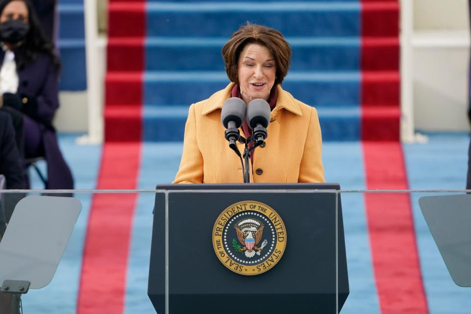 Minnesota Senator Amy Klobuchar speaks during the inauguration of Joe Biden as the 46th US President on January 20, 2021, at the US Capitol in Washington, DC. (Photo by Patrick Semansky / POOL / AFP) (Photo by PATRICK SEMANSKY/POOL/AFP via Getty Images)