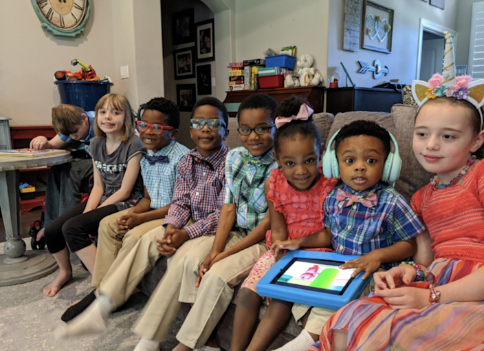 Andi Bonura was once told she couldn't have any more children — now she has eight. Bonura had three biological kids and recently adopted five siblings who were separated in foster care. / Credit: The Bonura Family