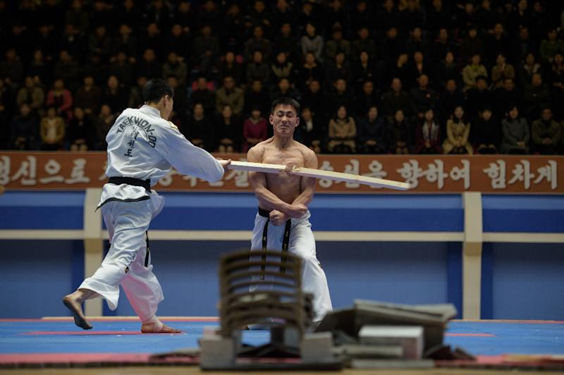 North Korea holds its annual taekwondo championship to mark the birth of the nation's founder (AFP Photo/KIM Won Jin)