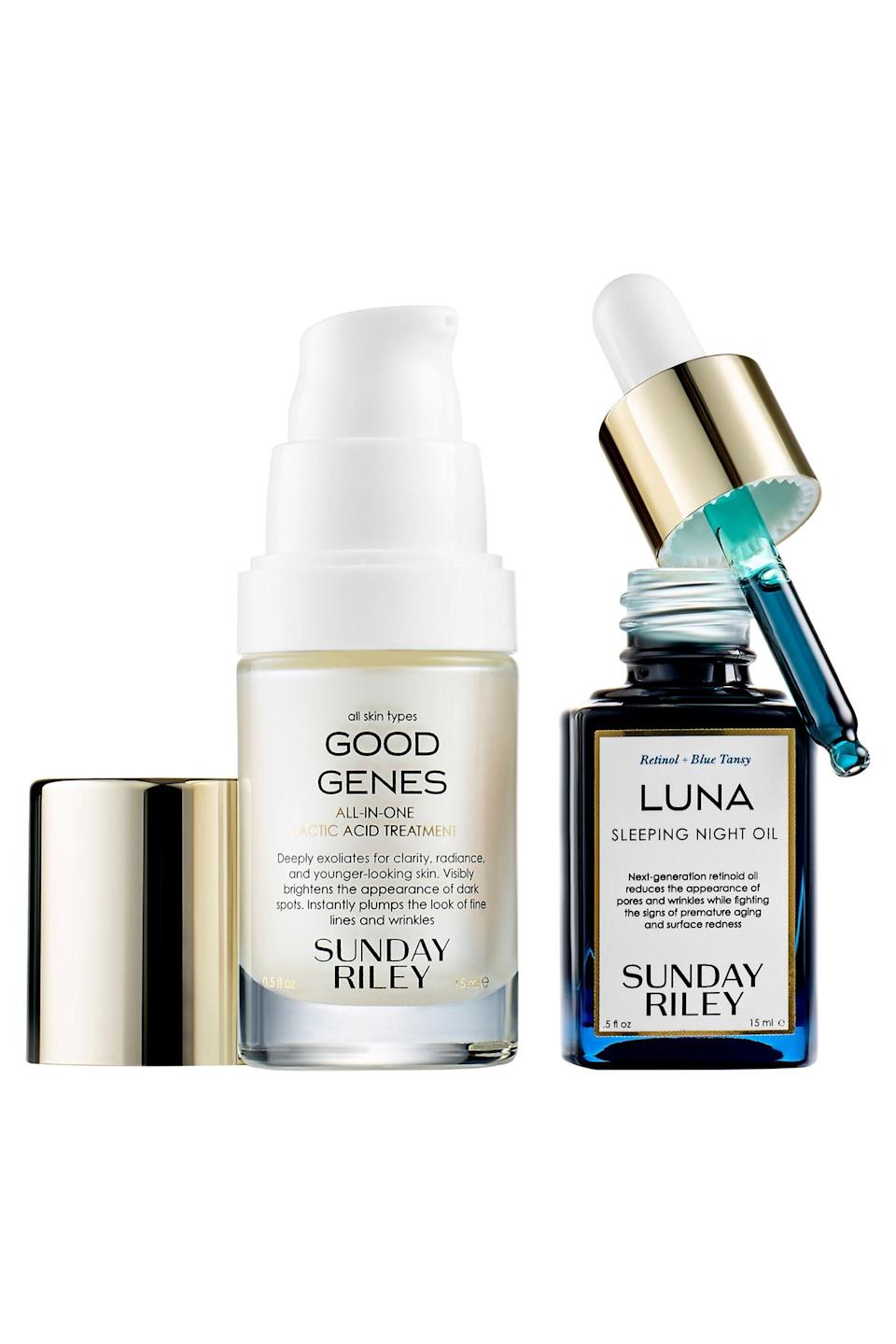 """<p><strong>Sunday Riley</strong></p><p>sephora.com</p><p><strong>$82.00</strong></p><p><a href=""""https://go.redirectingat.com?id=74968X1596630&url=https%3A%2F%2Fwww.sephora.com%2Fproduct%2Fpower-couple-lactic-acid-retinol-kit-P402718&sref=https%3A%2F%2Fwww.elle.com%2Fbeauty%2Fmakeup-skin-care%2Fg33433197%2Fbest-skin-care-sets%2F"""" rel=""""nofollow noopener"""" target=""""_blank"""" data-ylk=""""slk:Shop Now"""" class=""""link rapid-noclick-resp"""">Shop Now</a></p><p>Introducing retinol into your skincare routine isn't as easy as it seems. But this Sunday Riley duo, featuring the holy grail Good Genes treatment, is gentle yet powerful enough to deliver some serious results.</p>"""
