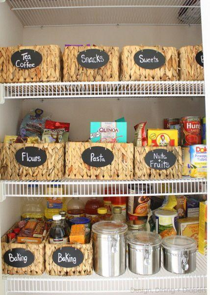 """<p>But, it turns out, there <em>is </em>a right way to use containers: Wicker baskets with adorable black labels and white letters keep items in order.</p><p><em><a href=""""http://designdininganddiapers.com/2013/01/new-pantry-organization/#_a5y_p=1150787"""" rel=""""nofollow noopener"""" target=""""_blank"""" data-ylk=""""slk:See more at Design Dining Diapers »"""" class=""""link rapid-noclick-resp"""">See more at Design Dining Diapers »</a></em></p><p><strong>What you'll need: </strong><span class=""""redactor-invisible-space"""">woven baskets, $31, <a href=""""https://www.amazon.com/Seville-Classics-Hand-Woven-Hyacinth-Storage/dp/B00C78TRG6/?tag=syn-yahoo-20&ascsubtag=%5Bartid%7C10072.g.36006557%5Bsrc%7Cyahoo-us"""" rel=""""nofollow noopener"""" target=""""_blank"""" data-ylk=""""slk:amazon.com"""" class=""""link rapid-noclick-resp"""">amazon.com</a></span><br></p>"""