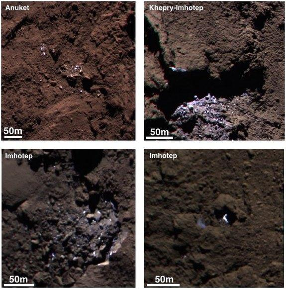 Examples of bright spots seen on Comet 67P/Churyumov-Gerasimenko in September 2014 by the Rosetta probe. A new analysis suggests the patches could be water ice.