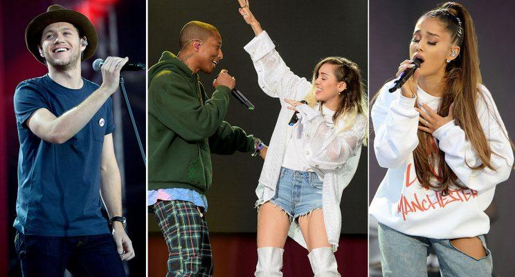 Niall Horan, Pharrell Williamns, Miley Cyrus and Ariana Grande were among those at the Manchester One Love concert, where a minute's silence was held in honour of those killed in both the Manchester and London attacks