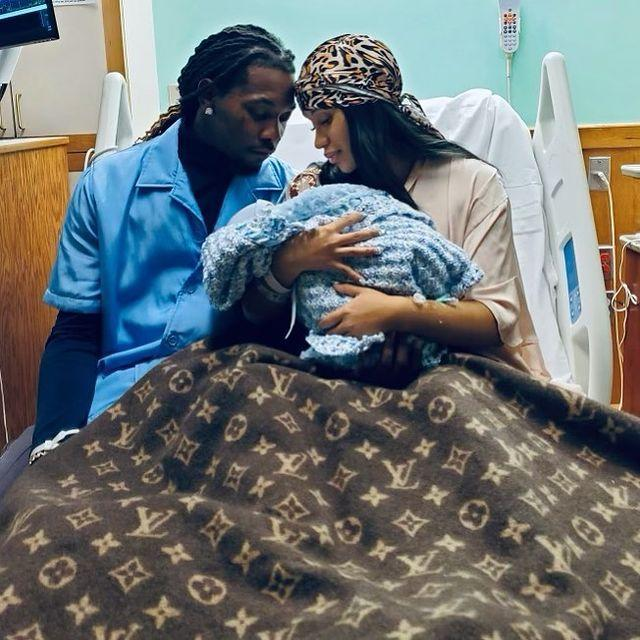 """<p>The musician has announced that she and Offset have welcomed their second child, a baby boy, together over the weekend. </p><p>In a photograph shared on Instagram and taken from her hospital bed, Cardi and Offset look lovingly at their newborn, who is covered up in a blue blanket while the new mum sits upright underneath a Louis Vuitton cover. We wouldn't expect anything less from Cardi! </p><p><a href=""""https://www.instagram.com/p/CTfKR9wLkJa/"""" rel=""""nofollow noopener"""" target=""""_blank"""" data-ylk=""""slk:See the original post on Instagram"""" class=""""link rapid-noclick-resp"""">See the original post on Instagram</a></p>"""