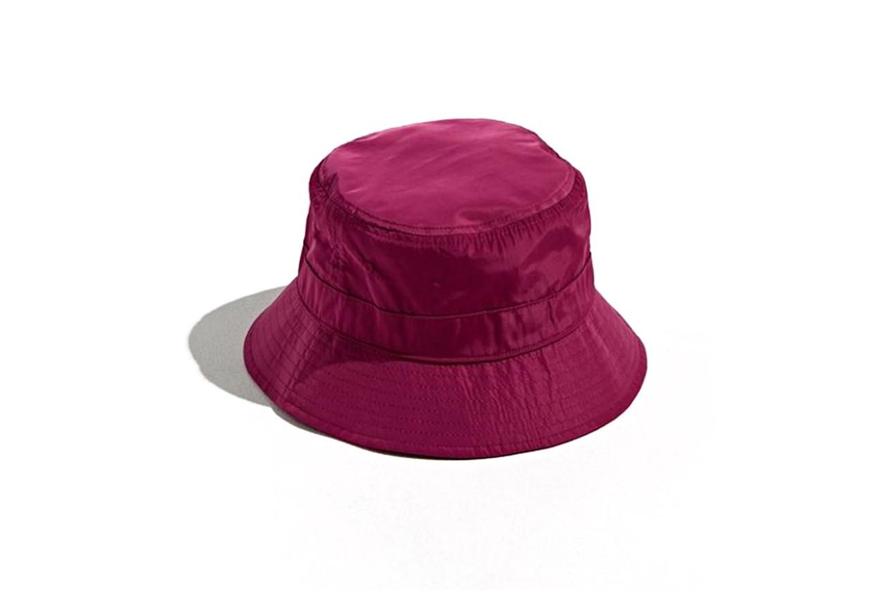 "$19, Urban Outfitters. <a href=""https://www.urbanoutfitters.com/shop/uo-iridescent-nylon-bucket-hat?category=mens-hats-beanies&color=062&type=REGULAR&size=ONE%20SIZE&quantity=1"">Get it now!</a>"