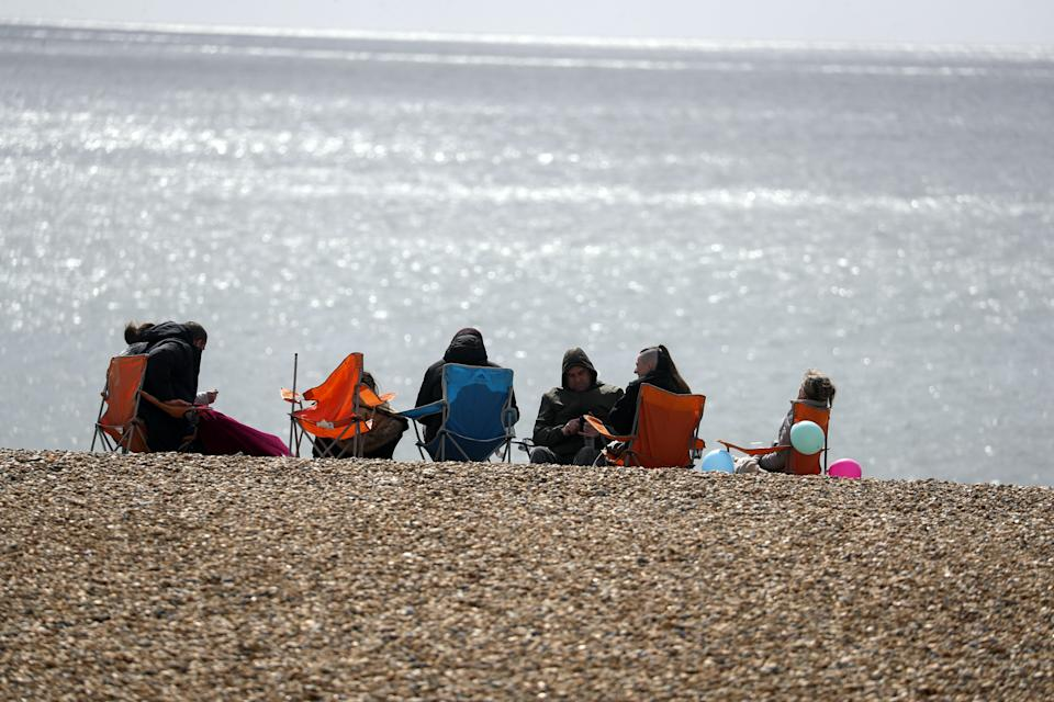 People on Brighton beach, East Sussex. Picture date: Friday April 2, 2021. (Photo by Steve Parsons/PA Images via Getty Images)