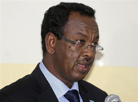Somalias newly appointed Prime Minister Shirdon Saaid addresses members of the parliament after his introduction in Mogadishu