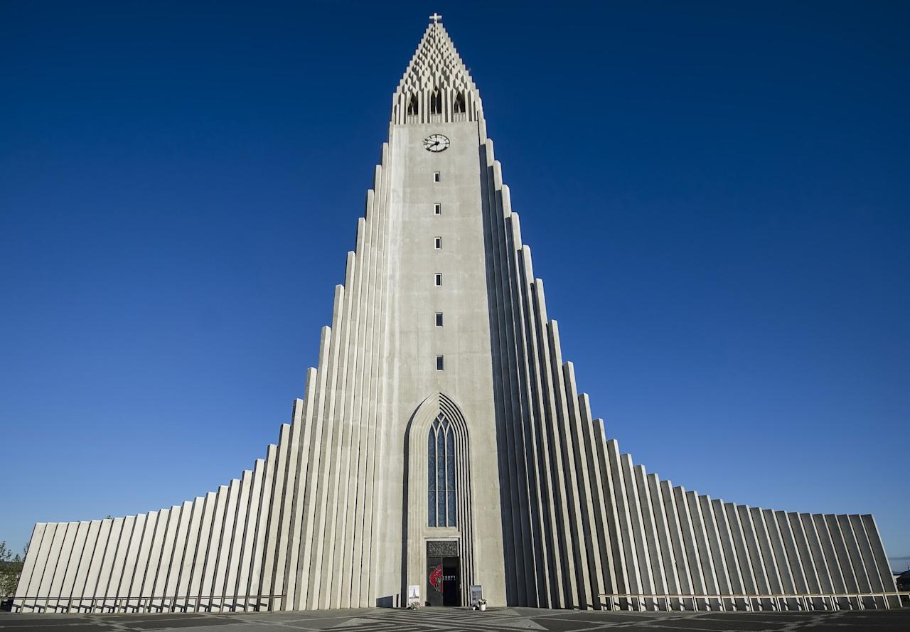 Designed by the Icelandic architect Guðjón Samúelsson, Hallgrímskirkja is a Lutheran church that has a prominence throughout Iceland's capital city, Reykjavík. Standing some 244 feet tall, the structure is the largest church in Iceland. Completed in 1986, Hallgrímskirkja took a whopping 41 years to be built.