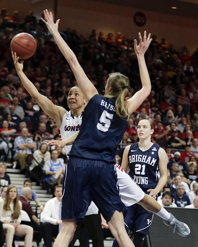 Gonzaga's Haiden Palmer, left, puts up a shot against BYU's Jennifer Hamson in the first half of an NCAA West Coast Conference women's tournament championship college basketball game, Tuesday, March 11, 2014, in Las Vegas. (AP Photo/Julie Jacobson)