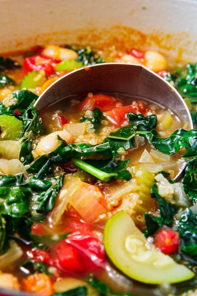 """<p>This <a href=""""https://www.delish.com/uk/cooking/recipes/g29869350/healthy-soup-recipes/"""" rel=""""nofollow noopener"""" target=""""_blank"""" data-ylk=""""slk:hearty soup"""" class=""""link rapid-noclick-resp"""">hearty soup</a> might be vegetarian, but it's super filling thanks to quinoa, white beans, kale, carrots, and celery.</p><p>Get the <a href=""""https://www.delish.com/uk/cooking/recipes/a32183592/quinoa-soup/"""" rel=""""nofollow noopener"""" target=""""_blank"""" data-ylk=""""slk:Quinoa Vegetable Soup"""" class=""""link rapid-noclick-resp"""">Quinoa Vegetable Soup</a> recipe.</p>"""