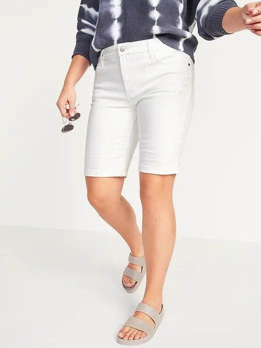 <p>These long <span>Old Navy Mid-Rise Ripped White Bermuda Jean Shorts</span> ($28, originally $35) look nice with tucked shirts and ones that blouse out above as well.</p>