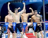 """<p>Biography: Murphy is 26, Apple is 24, Dressel is 24 and Andrew is 22</p> <p>Event: Men's 4x100m medley relay (swimming)</p> <p>Quote: Dressel: """"To come out at the end of this meet with the world record, with a gold medal alongside these guys, I couldn't ask for anything better.""""</p>"""