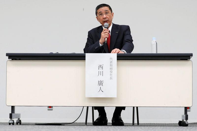 Nissan President and CEO Hiroto Saikawa speaks during a news conference at its global headquarters building in Yokohama