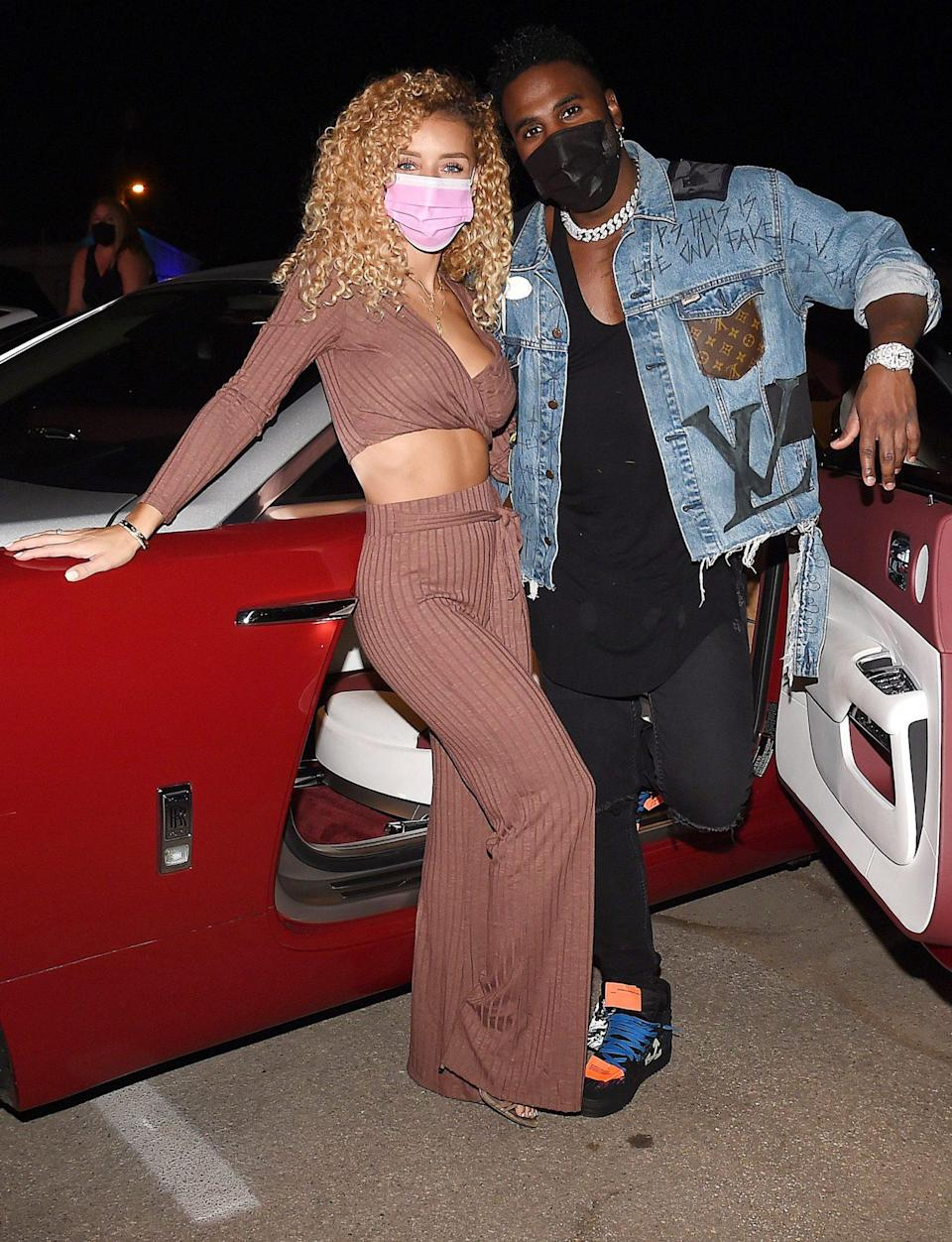 <p>Jason Derulo and Jena Frumes pose at the drive-in premiere of <em>Clouds </em>in L.A. on Monday. </p>